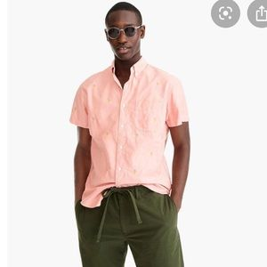 J. Crew Cotton Short Sleeve Button Down in Pink